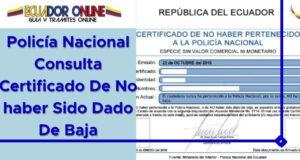 Policía Nacional Consulta Certificado De No haber Sido Dado De Baja