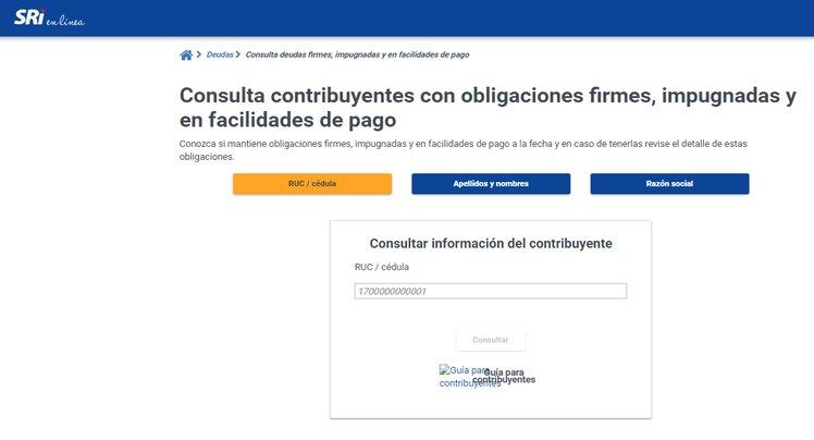Rellenar los datos para poder la consulta de deuda para SRI Linea
