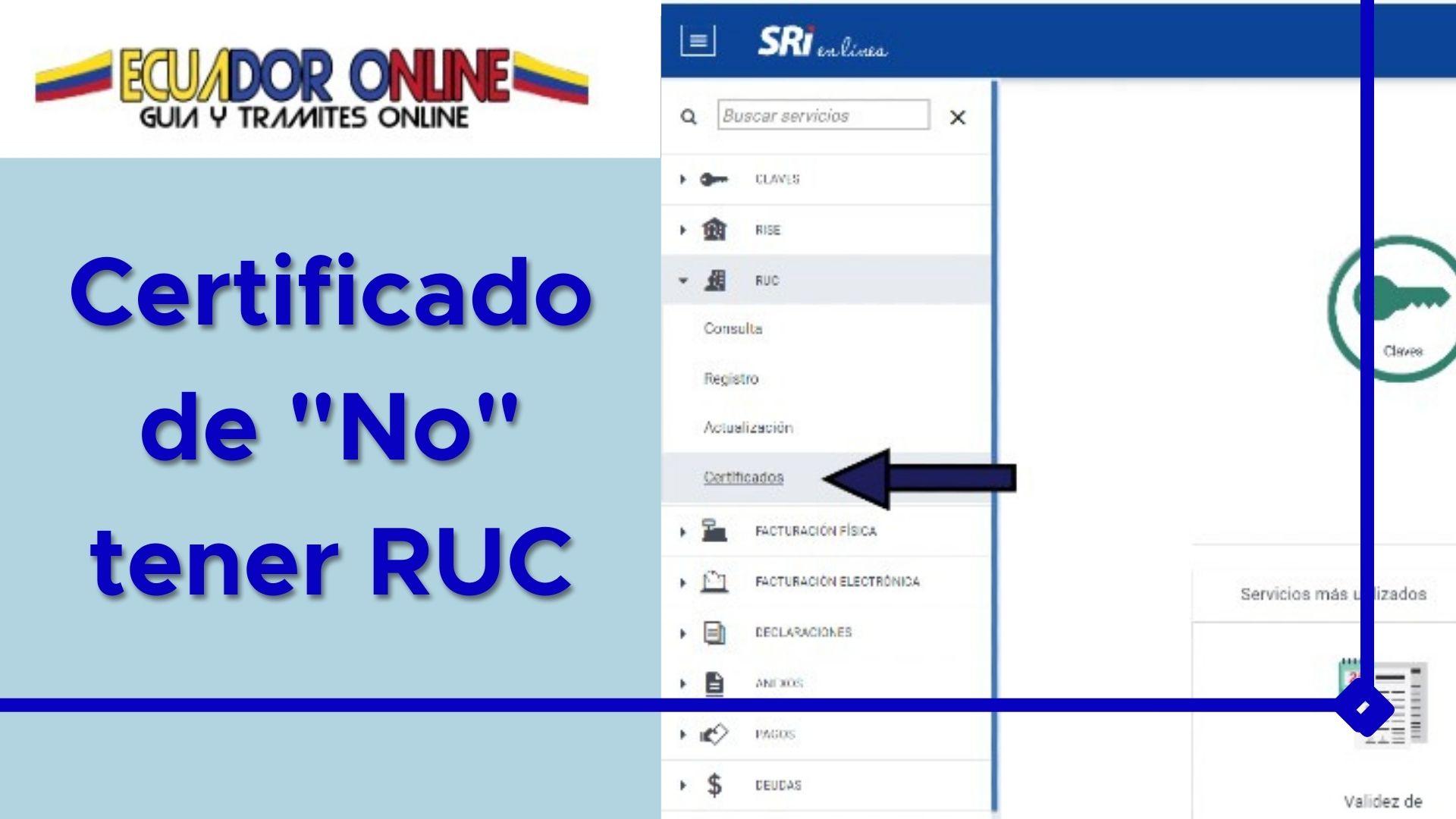 Como solicitar el certificado de no tener Ruc en Ecuador